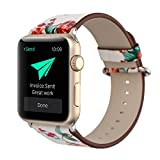 TCSHOW 42mm Soft PU Leather Pastoral/Rural Style Replacement Strap Wrist Band with Silver Metal Adapter for Apple Watch Series 3 Series 2 Series 1(Not for iWatch 38mm)