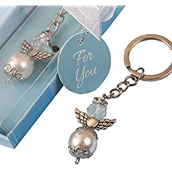144 Elegant Angel Themed Pearl and Crystal Key Chains w/Silver Accent Angel Wing