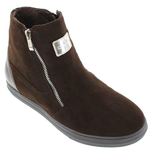 calto–g303356,6cm größer die Höhe Steigerung Aufzug shoes-dark braun Reißverschluss Stiefel