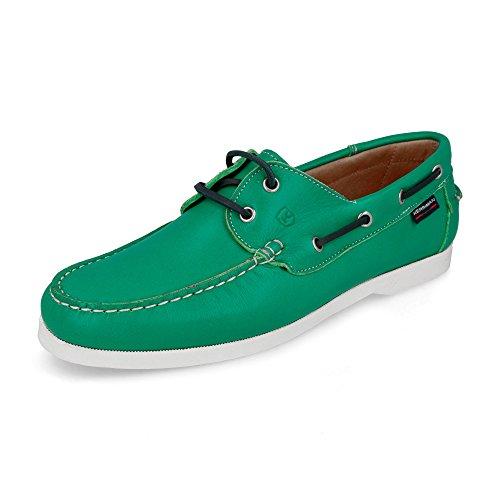KERRIMAN - Náutico Hombre de Piel Color Verde Menta Verde