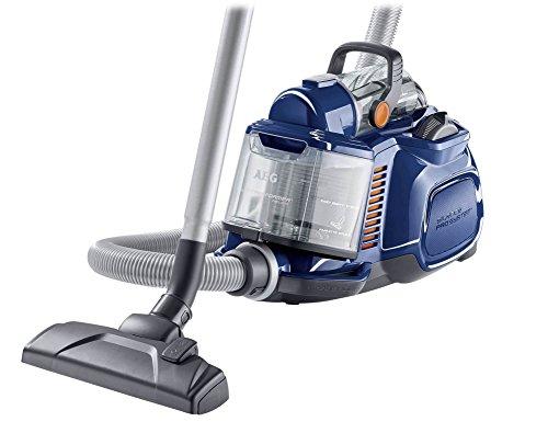 AEG Performer Cyclonic ASPC7110 Staubsauger ohne Beutel EEK B (800 Watt, DustPro Bodendüse, Softräder, waschbarer Hygiene E12 Filter) blau