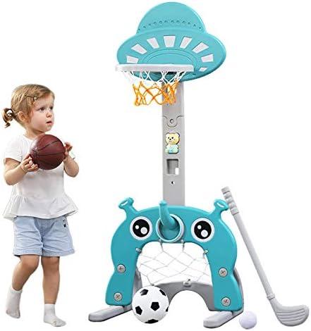 Aro de baloncesto para niños Centro de actividades deportivas 5 en 1 Grow-to-Pro Ajustable Fácil puntaje Aro de baloncesto Gol de fútbol / fútbol Juego de golf Ring Toss El mejor regalo para niños Beb