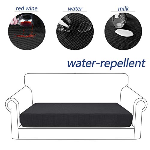 Granbest Premium Water-Repellent Couch Seat Cushion Cover, High Stretch Jacquard Fabric Sofa Seat Slipcover Protectors (Black, Sofa Cushion) (Cushions Bench Rv Seat)