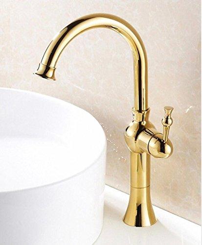 Makej Basin Faucet Deck Mounted Pared Platform Heightening golden Plated Wash Basin Mixer Tap