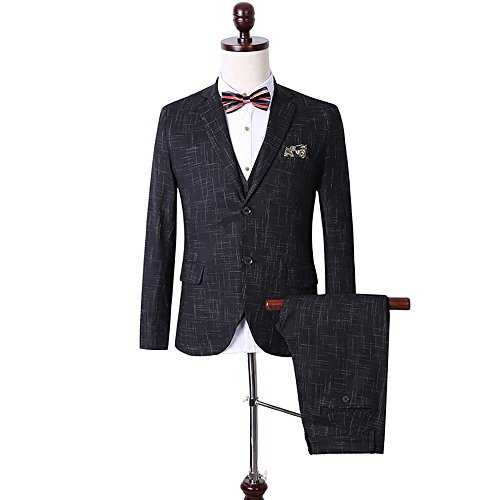 Men's Plaid Modern Fit 3-Piece Suit Blazer Jacket Tux Vest & Trousers (3 Piece Jacket)