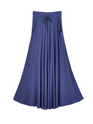 Femelle Taille Lacets Jupe Longue Couleur Aoliait Femme Grande Jupe A Taille Jupe Line Haute Jupe Skirt Plisse Unie Blue Amincissante CwqqFZTxO