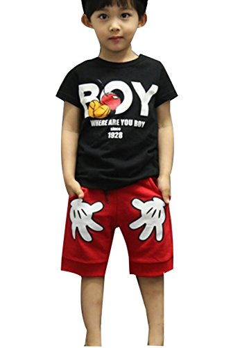 Summer Four (Baby Boys T-shirt Tops Red Pants Outfits Sets Casual 2pcs Summer (4-5 Year, Black))