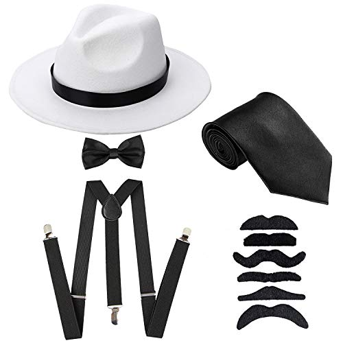 Men's Roaring 1920s Gangster Costume - Deluxe Manhattan Fedora Hat,Suspenders Y-Back Elastic Trouser Braces & Pre Tied Bow Tie,Gangster Tie & Fake Mustache (OneSize, WhiteHat & -