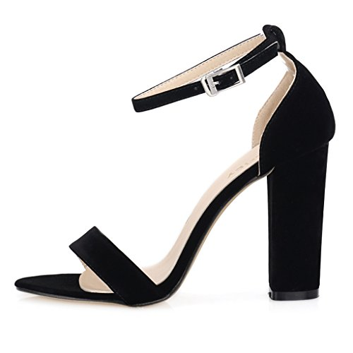 Women Ankle Pointed Toe Sandals High Heels Shoes (Black) - 2