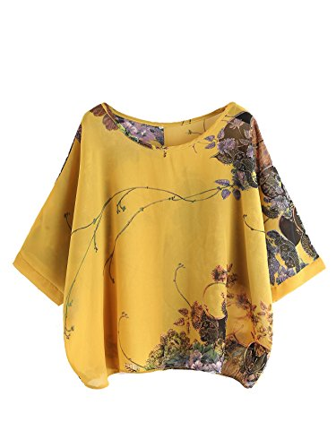 Milumia Women's Florals Batwing Sleeve Button Back Chiffon Blouse Medium Yellow (Chiffon Back)