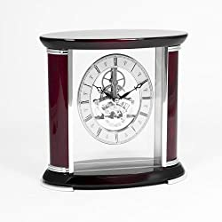 Bey-Berk CM686 Luxemburg, Lacquered Rosewood and Stainless Steel Accents Quartz Clock with Skelton Movement. Brown