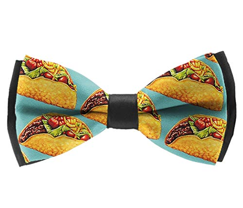 Novelty Men Bow Tie Adjustable Pre-tied Bowties for Wedding Party Celebration Gift, Mexican Tacos Mint Green (Bow Tie Mint Molds)