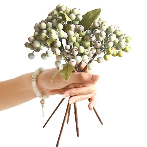 """JD Artificial Plants 8 Bundles of 11.4"""" Artificial Berry Stems Floral Sprays Berry Fruit Picks for Home Décor Office Restaurant Wedding Garden Patio Shop Window Photography Props(Pinkish Green) from JD Artificial Plants"""
