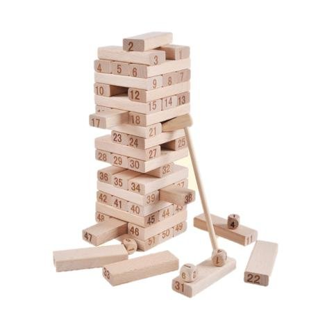 天然 木製 数字 ジェンガ バランス ゲーム 積木 知育 おもちゃ 子供 大人 みんな 楽しい 遊び