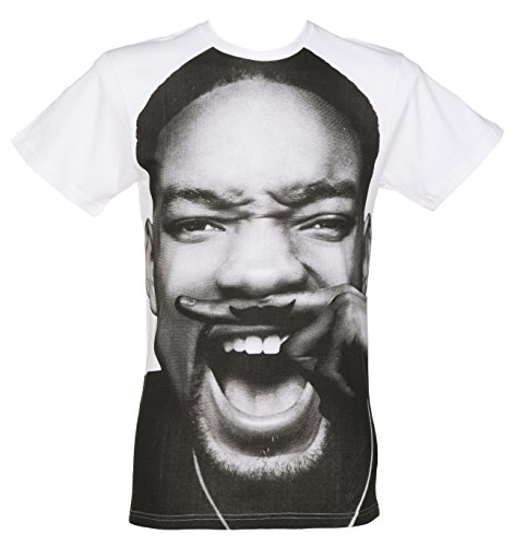 Mens White Will Smith Moustache T Shirt from Eleven Paris
