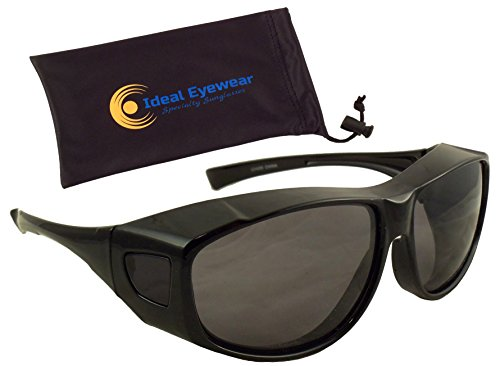 Sun Shield Fit Over Sunglasses with Polarized Lenses by Ideal Eyewear - Wear Over Prescription Glasses - Wrap Around - Great for Fishing, Boating, Golf, & Driving (Black Frame / - Sunglasses Polarized Sun Shield