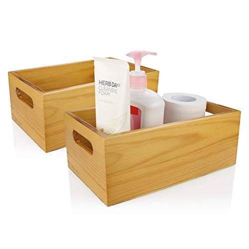 (A+Selected 2 Packs Pine Wood Organizer Open Box with Handles, Toilet Wooden Storage Box for Bathroom and Kitchen.)