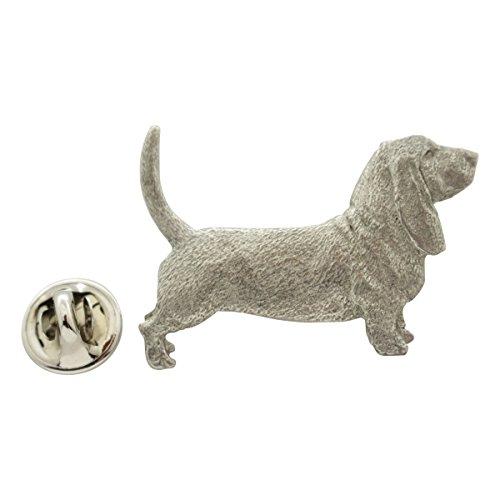 Sarah's Treats & Treasures Basset Hound Pin ~ Antiqued Pewter ~ Lapel Pin