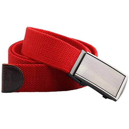 Buckle Press - Samtree Web Belts for Men, Solid Color Military Style Press Buckle Canvas Belt (07-Red)