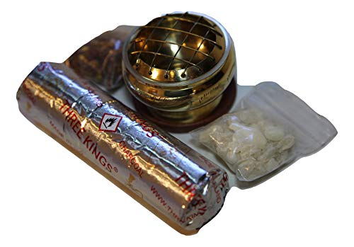 Frankincense, Myrrh, Gold Colored Burner with Charcoal - 3 Wise Men Gift Pack