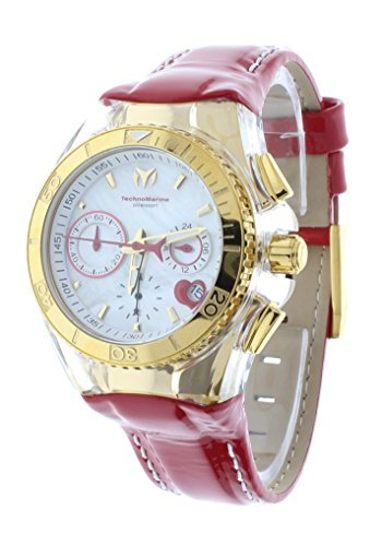Technomarine TM-117003 Women's Red Valentine Watch 14K Gold-Tone PVD Coated Japan Chronograph