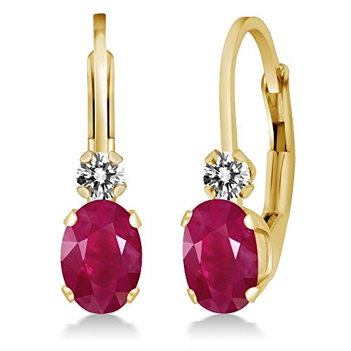 Gem Stone King 1.27 Ct Oval Red Ruby White Diamond 14K Yellow Gold Earrings -