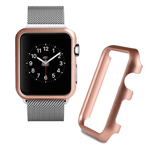 (SHL for Apple Watch Series 1/2/3 Screen Protector, Aluminum Case Protective Frame Bumper Case Sport Case (42mm, Rose Gold))