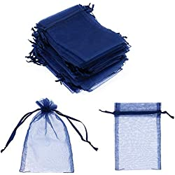 "SumDirect 100Pcs 4""x6"" Sheer Drawstring Organza Jewelry Pouches Wedding Party Christmas Favor Gift Bags (Blue)"
