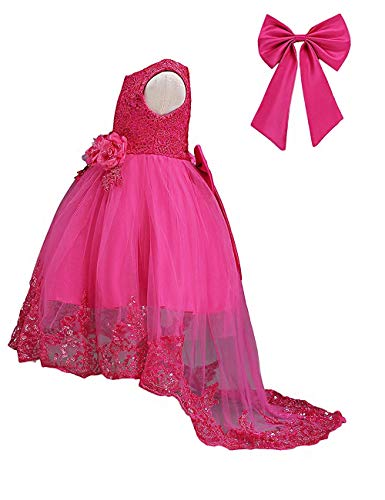 21KIDS Flower Girls Sequin Lace Tulle Dress Kids Wedding Princess Pageant Long Sleeve Dresses Rose Red