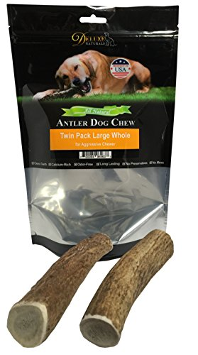 (Deluxe Naturals Elk Antler Dog Chew, Whole, 50-90 Lb, Large, Twin Pack)