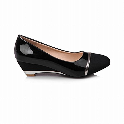 Carolbar Women's Contrast-stitching Stylish Mid Heel Wedge Court Shoes Black l2WVA