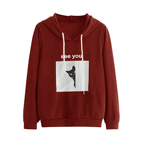 DongDong Women's Fashion Sweatshirt, Cat Letter Printing Drawstring Hooded Long Sleeve Tops -