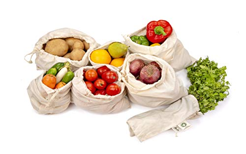 Small Produce Bags - Cotton Muslin Produce Bags - Cotton Produce Bags Grocery Reusable - Produce Bags Cotton - Produce Bags Small (14 H x 17 W x 5 Bottom) (Muslin - Set of 7 (2 M, 3 S, 2 XS))