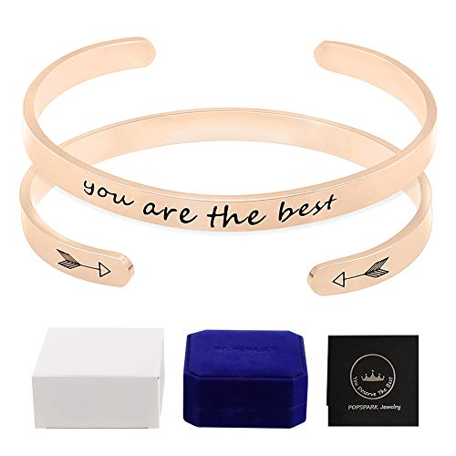 POPSPARK Women Cuff Bracelets, Couple Inspirational Bangle Rosegolden Bangle Bracelets Stainless Steel Personalized Engraved Motivational Bangle Encouragement Bangle Jewelry Gift for 2 Pieces