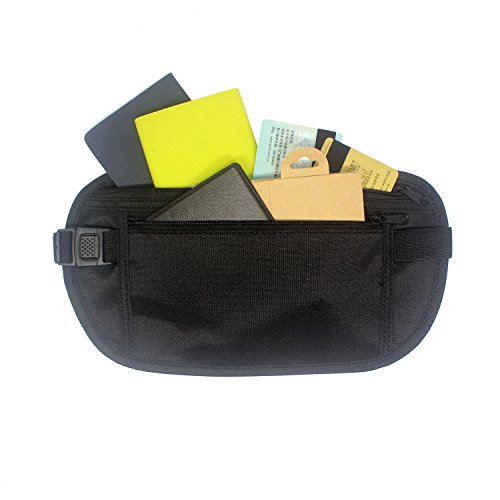 T&B Money Belt Waist Stash Anti-Theft Hidden Travel Wallet, Passort Holder & Accessories (Black)