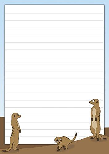 2 Schreibblöcke witzige Erdmännchen 50 Blatt Format DIN A5 mit Deckblatt 7170