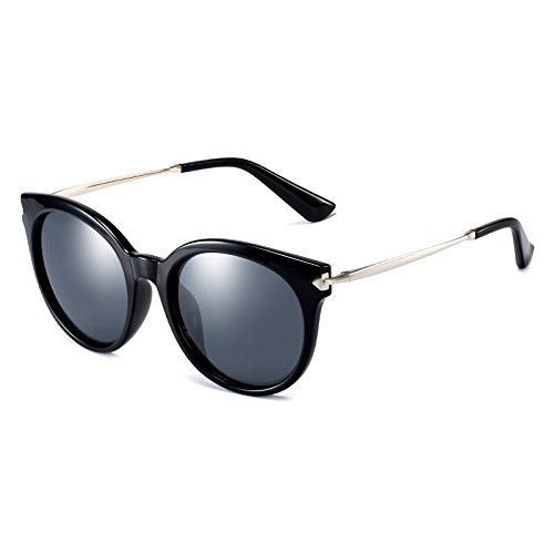 CAXMAN Women's Cateye Frame Retro Style Polarized Sunglasses Mirror Lenses (Black Lens/Black Frame, - Sunglasses Most Expensive