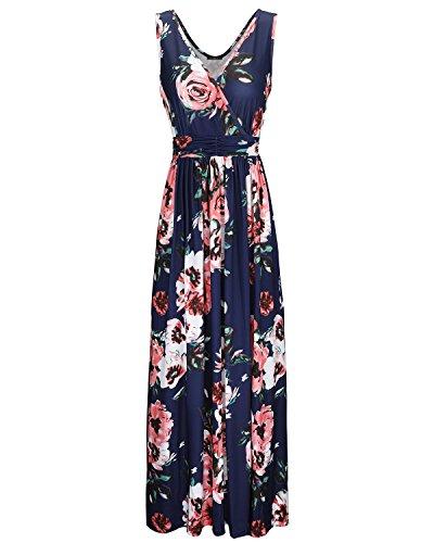 OUGES Women's V-Neck Pattern Pocket Maxi Long Dress(R002,XL) (Chiffon Pocket)