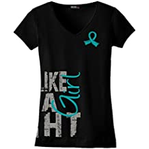 Fight Like a Girl Side Wrap T-Shirt Ladies' V-Neck Black w/ Teal