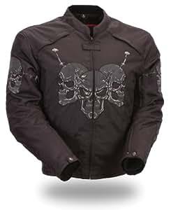 First Manufacturing Textile Reflective Skull Jacket (Black)