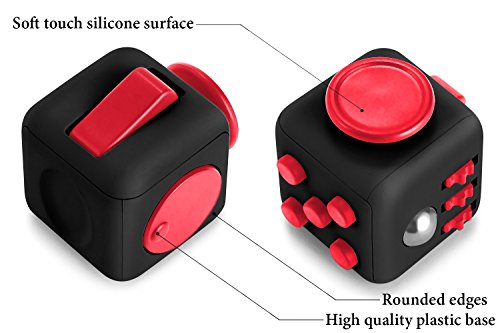 Vortex Spinners – Prime Fidget Toy Set of Upgraded Black High Speed Hand Spinner Toy and Black Soft Touch Fidget Cube in Premium Gift Box, 1-4 min of Spin Time (Black)