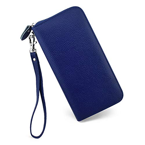 - Womens Wallet RFID Blocking Genuine Leather Zip Around Wallet Clutch Wristlet Travel Long Purse for Women