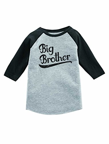 Gift for Big Brother Siblings Boys 3/4 Sleeve Baseball Jersey Toddler Shirt 4T Dark Gray