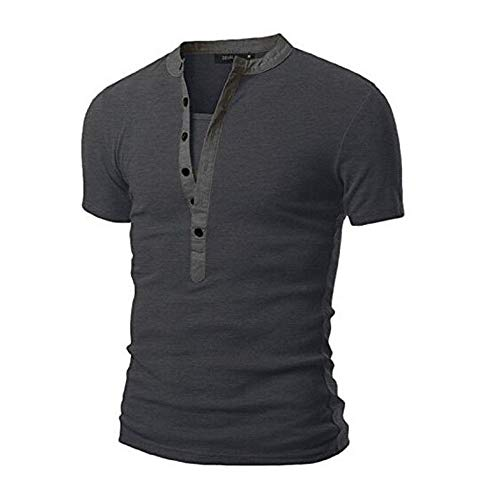 Dressin Summer Mens T Shirt Casual Button Solid Color Shirt Packwork Short Sleeve Tops Tees Dark -
