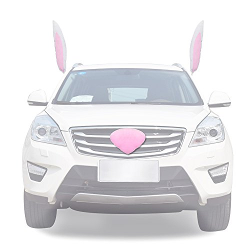 YGMONER Pink Bunny Ears with Nose Car Costume
