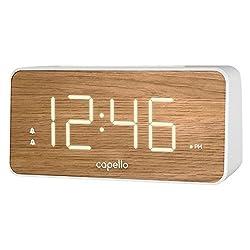 Extra Large Display Digital Alarm Clock White/Pine - Capello
