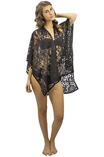 Luxury Divas Black Sheer Lace Summer Shawl Cover Up Beach...