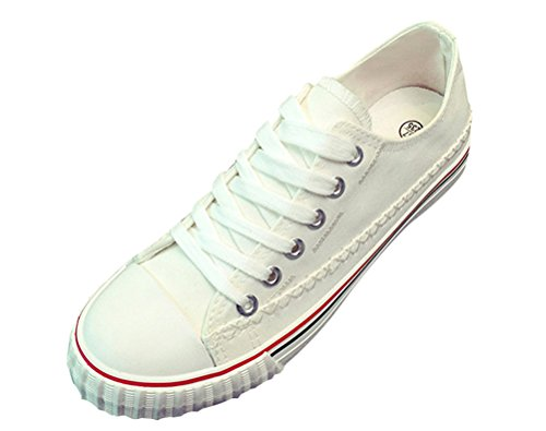 T&Mates Womens Classic Cap-Toe Lace-up Stitches Low Cut Flat Sole Canvas Fashion Sneakers (8 B(M)US,White)