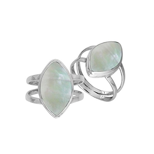 Sterling Silver Marquise Shape Ring With Mother Of Pearl (Shape Mother Of Pearl Ring)