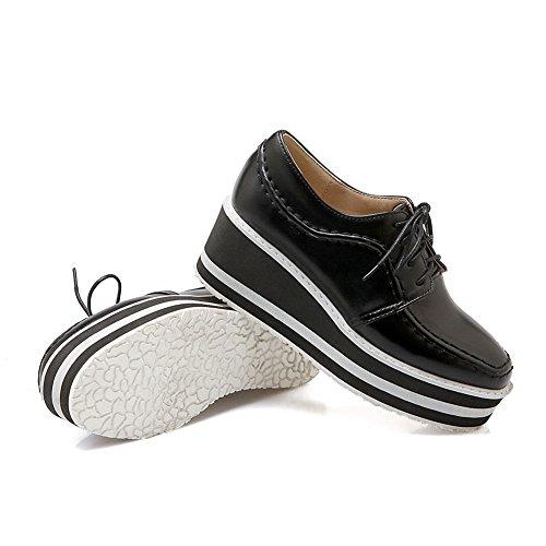Balamasa Meisjes Draad Kleuraanpassing Dikke Bodem Hiel Bandage Geïmiteerd Lederen Pumps-schoenen Zwart